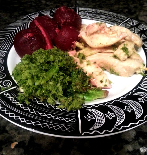 chicken broccoli and beets