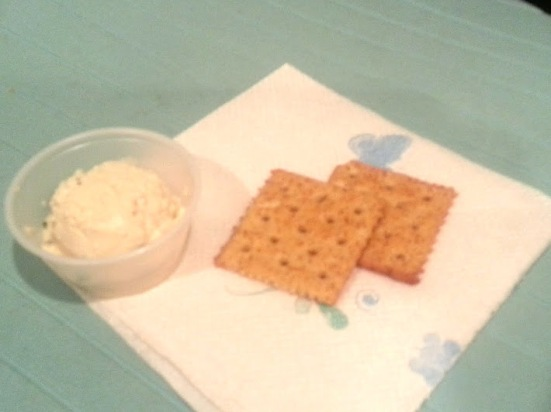 crackers and tofu spread