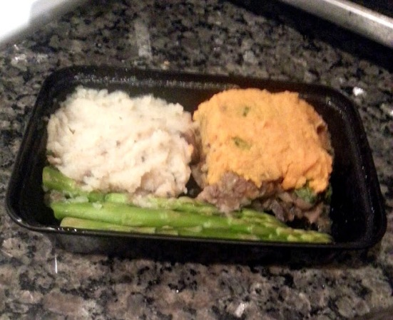 shepherds pie and celery mash and asparagus