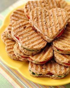 panini heart sandwiches