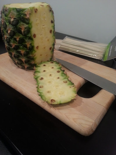 slice skin off pineapple