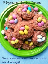 Five Ingredient Easter cookies: Chocolate Chip and Coconut Cookies with Coconut M&M's