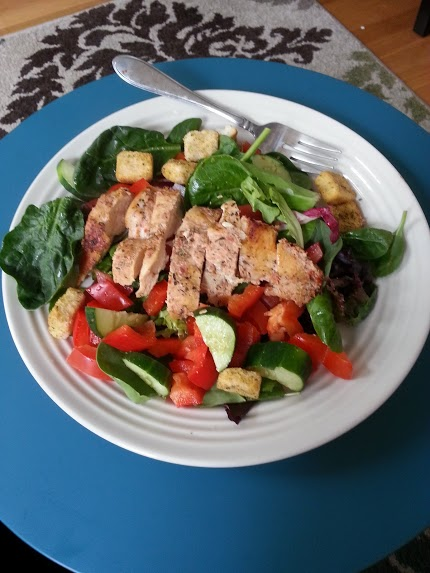 chicken on a salad