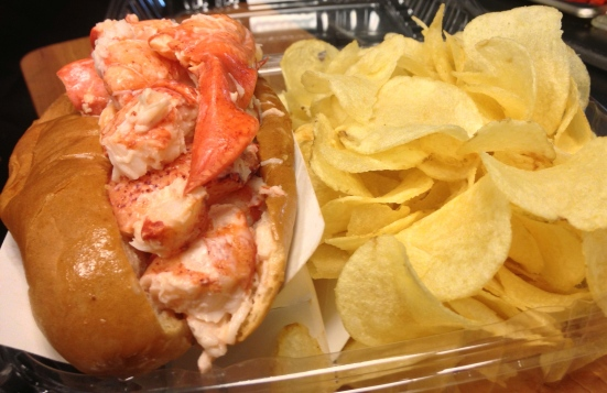 lobster roll with chips from Paulis Boston